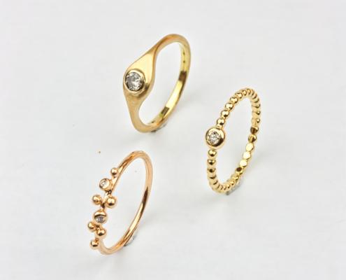 Ringe in 750/- Gelb- oder Roségold mit Brillanten